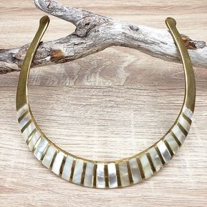 Vintage Brass and Mother of Pearl Choker Necklace